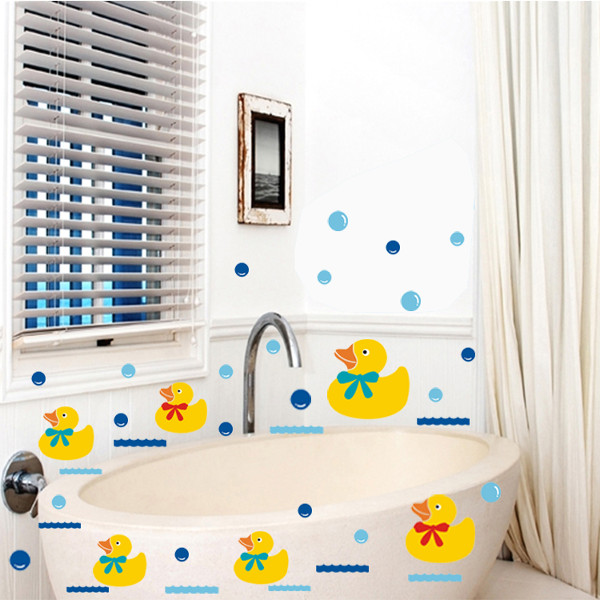 Vinyl Bathroom Wall Stickers Rubber Duck Family And Bubbles Decor Bathroom