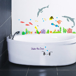 Vinyl Dolphin And Fish Wall Stickers Under The Sea Bathroom Decor