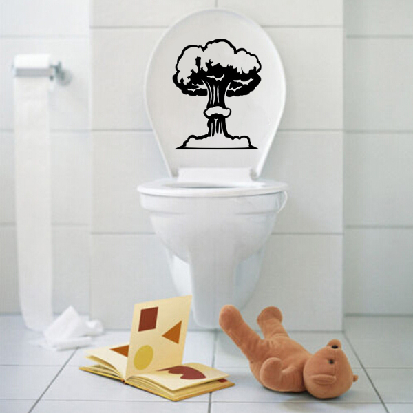 Vinyl Mushroom Cloud Toilet Seat Wall Sticker Bathroom Decal Bathroom