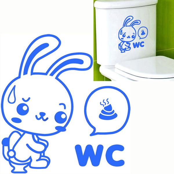 WC Rabbit Toilet Cover Sticker Removable Closestool Seat Decor Bathroom