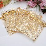 100Pcs Champagne Color Organza Pouch Wedding Favor Gift Bags 9X11CM Festival Gifts & Party Supplies