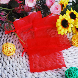 100X Red Organza Pouch Wedding Favor Gift Bags 7X9cm