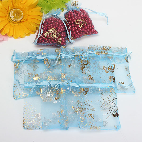100pcs Blue Butterfly Drawstring Organza Gift Candy Jewelry Pouch Bag Festival Gifts & Party Supplies