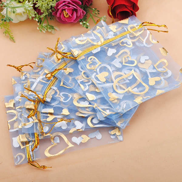 100pcs Blue Organza Jewelry Pouch Favor Gift Bag 9.5X11.5CM Festival Gifts & Party Supplies