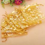 100stk Golden Luxury Hjerte Organza Smykker Pouch Favor Gavepose Festival Gaver & Festartikler
