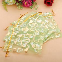 100st Grön Hjärta Organza Smycken Påse Favor Bag