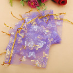 100pcs Purple Butterfly Organza Jewelry Pouch Favor Gift Bag 9.5X12cm Festival Gifts & Party Supplies