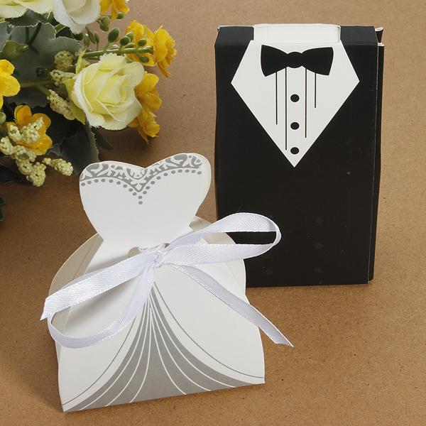 100st Brudklänning & Tuxedo Bruden och Brudgummen Candy Box Fest & Kalasprylar