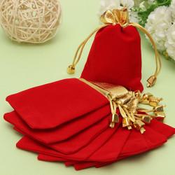 10st Golden Röd Flanell Dragsko Pouch Smycken Hänger Lös Påse