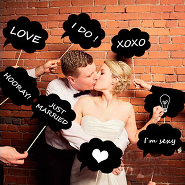 10Pcs Photo Booth Prop Wedding Party Black Card Board Chalkboard Festival Gifts & Party Supplies