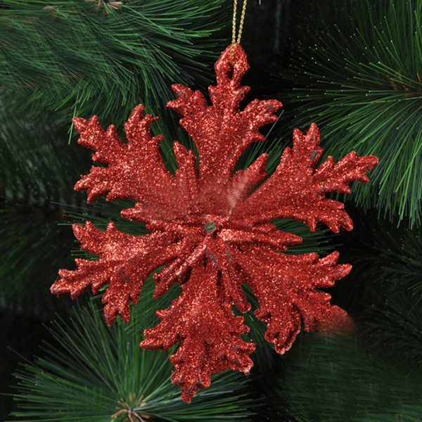 12cm Red Plastic Snowflakes Christmas Tree Pendant Ornament Festival Gifts & Party Supplies