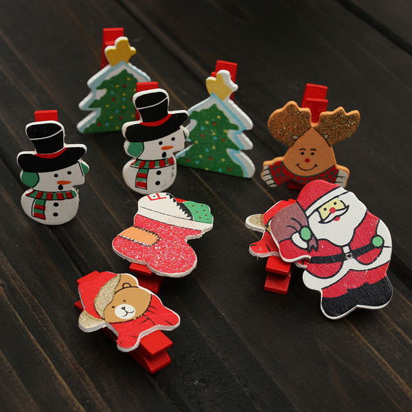 12pcs Christmas Wooden Clips Pegs Card Holder Craft Decoration Festival Gifts & Party Supplies