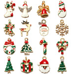 16Pcs/lot Gold Plated Enamel Christmas Tree Deer Snowflake Pendant Festival Gifts & Party Supplies