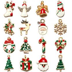 16Pcs/lot Gold Plated Enamel Christmas Tree Deer Snowflake Pendant