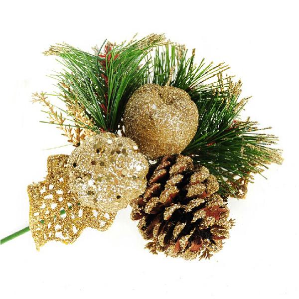 16cm Golden Pine Needle Tannenzapfen Weihnachtsbaum Dekoration Branchen Partyzubehör