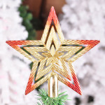 20cm Christmas Tree Top Star Golden Red Pierced Pentagram Festival Gifts & Party Supplies