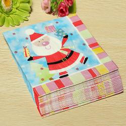 20pcs Christmas Santa Claus Paper Napkins Serviette Craft Party Decor