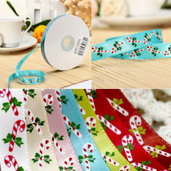 25 Yards Candy Canes Printing Julgran Ribbon