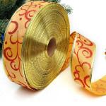 2m goldenen Satin Gewebe Pringting Weihnachtsbaum Dekoration Band Partyzubehör
