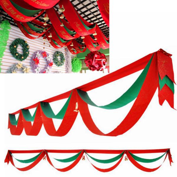 340cm Jul Bølget Bøjle Flag med Bells Hotel Bar Boligmontering Festival Gaver & Festartikler