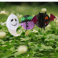 3PCS Halloween Paper Lanterns Bat Spider Ghost Decoration Gift