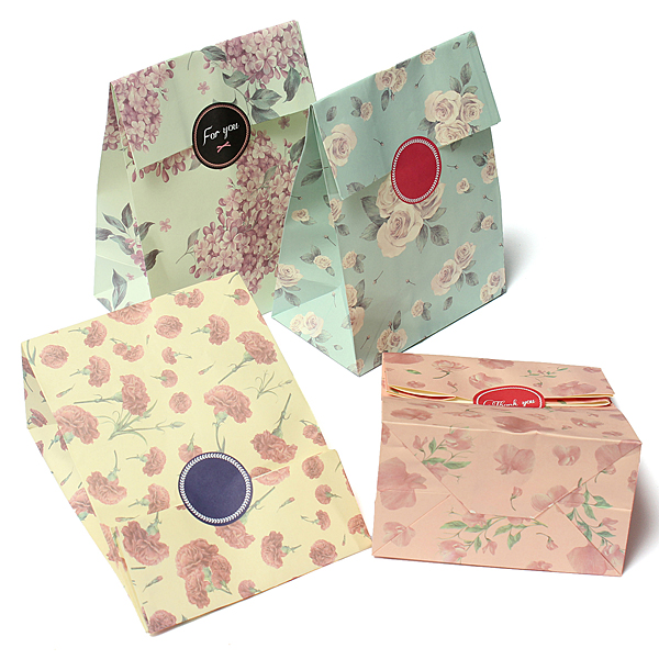 3pcs Flowers Style Paper Gift Bags Party Wrap Bags Stickers Festival Gifts & Party Supplies