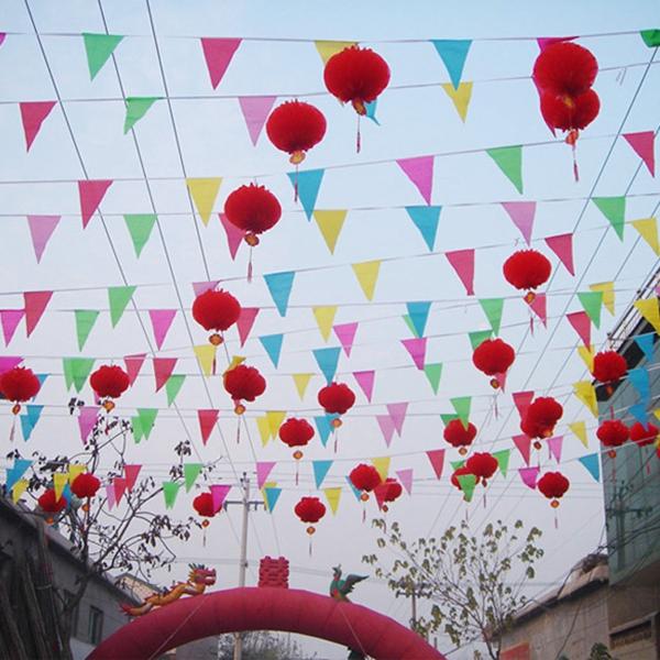 40m Ceremony String Flags Advarselsflag Farve Pennant Flags S Størrelse Festival Gaver & Festartikler