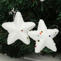 5 Bags 6x6CM White Foam Star Hanging Christmas Decoration