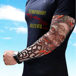 5 Pairs Halloween Tattoo Sleeve Sun Sleeve Gloves Pattern Random