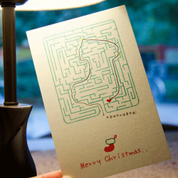 6PCS/lot Creative Maze Christmas Greeting Card Hand-made Postcards