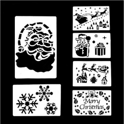 6 Pcs Large Christmas Spray Snow Template Window Decoration
