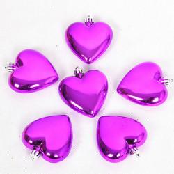 8 CM Pink Hjerte Formd PVC Juletræ Dekoration Dekorationer