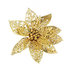 Schöne Golddurchbohrte Blume Weihnachtsbaum Dekoration Supplies