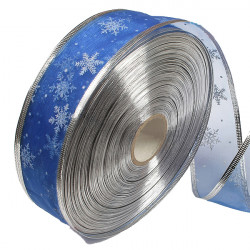 Blue Silver Serging Ribbon Christmas Trees Decoration Supplies