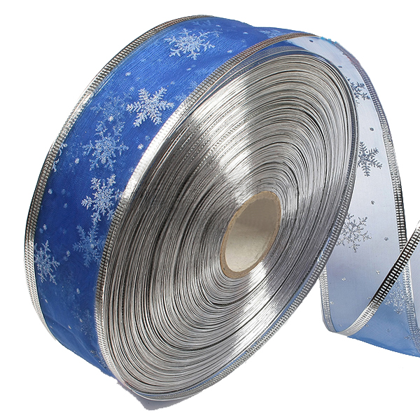 Blue Silver Serging Ribbon Christmas Trees Decoration Supplies Festival Gifts & Party Supplies