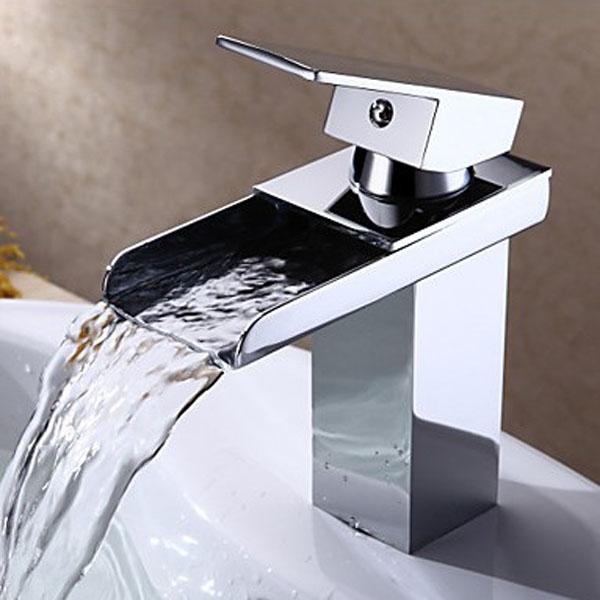 Messing Quadratmeter Wasserfall Wasserhahn Moderne Badezimmer Hahn Armaturen