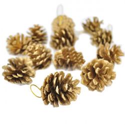 Weihnachten Eine Reihe von zwölf goldenen Tannenzapfen Anhänger