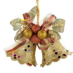 Julen Gold Double Bell Hang Dekoration Supplies