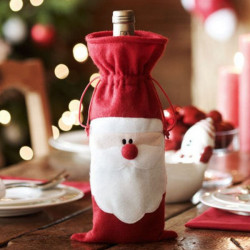 Christmas Santa Claus Wine Bottle Bag Cover Dinner Party Table Decor