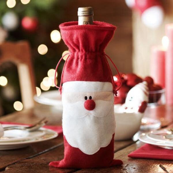 Weihnachten Weihnachtsmann Weinflasche Beutel Abdeckung Abendessen Tischdekoration Partyzubehör