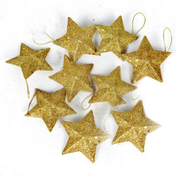Christmas Tree Golden Powder Star 9cm - 6PCS
