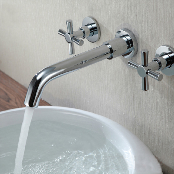 Chrome Brass Modern Wall Mounted 3 Hole Bath Faucet Tap Faucets