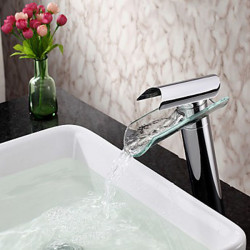 Contemporary Brass Waterfall Thermostatic Sink Faucet