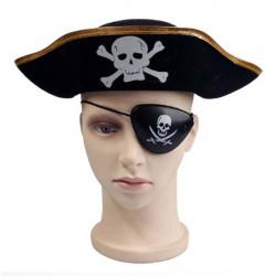 Cool Skull Pattern Flat Pirat Hat Mössa och Ögonlapp