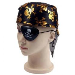 Cool Skull Pattern Round Pirat Hat Mössa och Ögonlapp