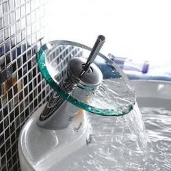 Koppar Round Glas Vattenfall Tvättställsblandare Mixer Tap