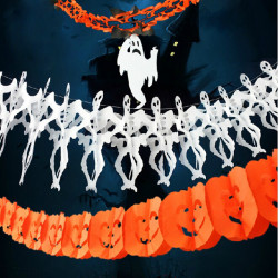 Halloween Decoration Props Witch Skeleton Paper Garlands 3M
