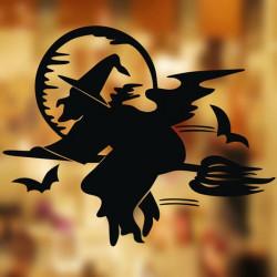Halloween Dekoration Vinduesglas Paste Broom Wallstickers