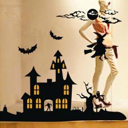 Halloween Decoration Window Glass Paste Spooky Castle Wall Sticker