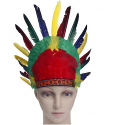 Halloween Indian Headdress Colored Feather Masks